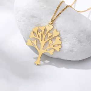 Jewelry - Gold Stainless Steel Tree of Life Heart necklace